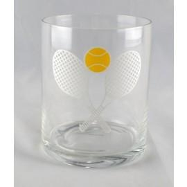 Double Old Fashioned Glass - T811 - Racket Sports Tennis Gifts Novelties T811