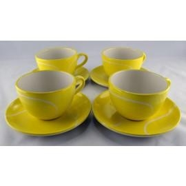 Small Mug/saucer Set-ceramic (4) - T759 - Tennis Gifts Mugs & Steins T759