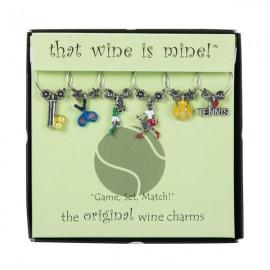 "Tennis Wine Glass Charms ""game; Set; Match"" - T1033 - Tennis Apparel & Accessories Jewelry Charms T1033"