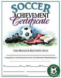 Soccer Certificates - Aw179p - Athletics Coaching And Officiating Awards AW179P