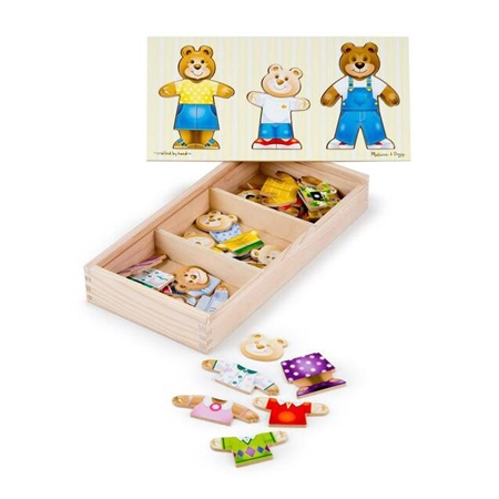 Wooden Bear Family Dressup Puzzle - 42326 - Toys Hands On Math Activities 42326