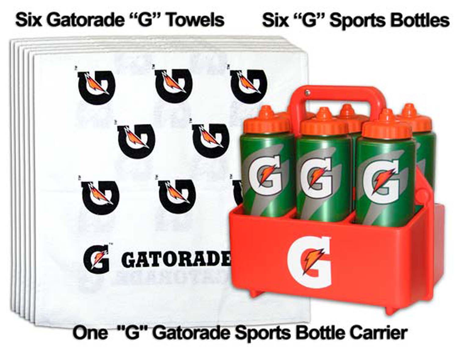 Mini Team Gatorade G Sports Pack = 6 G Bottles; 1 Carrier; And 6 Gatorade 'g' Towels - Set - 59115 - Yoga And Pilates Yogamats Matwash Towels And Rugs 59115