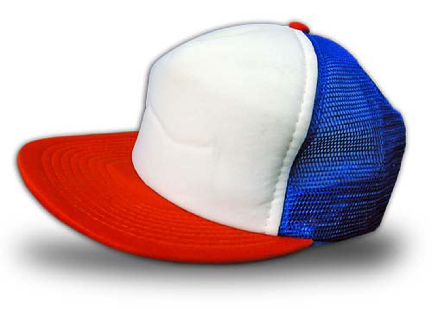 Seamless 3-tone Baseball Cap; White Front Panel. Colors Available: White-royal-scarlett - 9113 - Baseball And Softball Baseball And Softball Uniforms Baseball Jerseys 9113