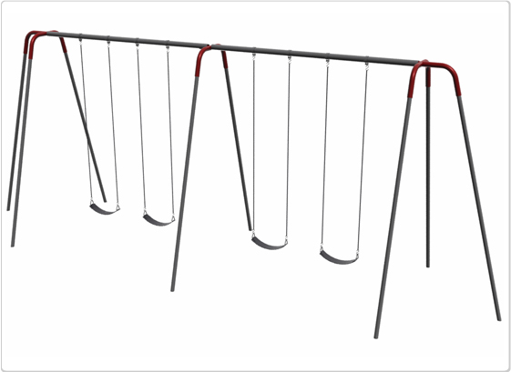 Heavy Duty Modern Tripod Swing- 12 Foot; 4 Seat - 581-442 - Toys Swings & Slides 581-442