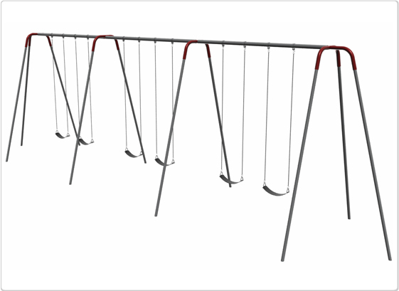 Heavy Duty Modern Tripod Swing- 12 Foot; 6 Seat - 581-643 - Toys Swings & Slides 581-643