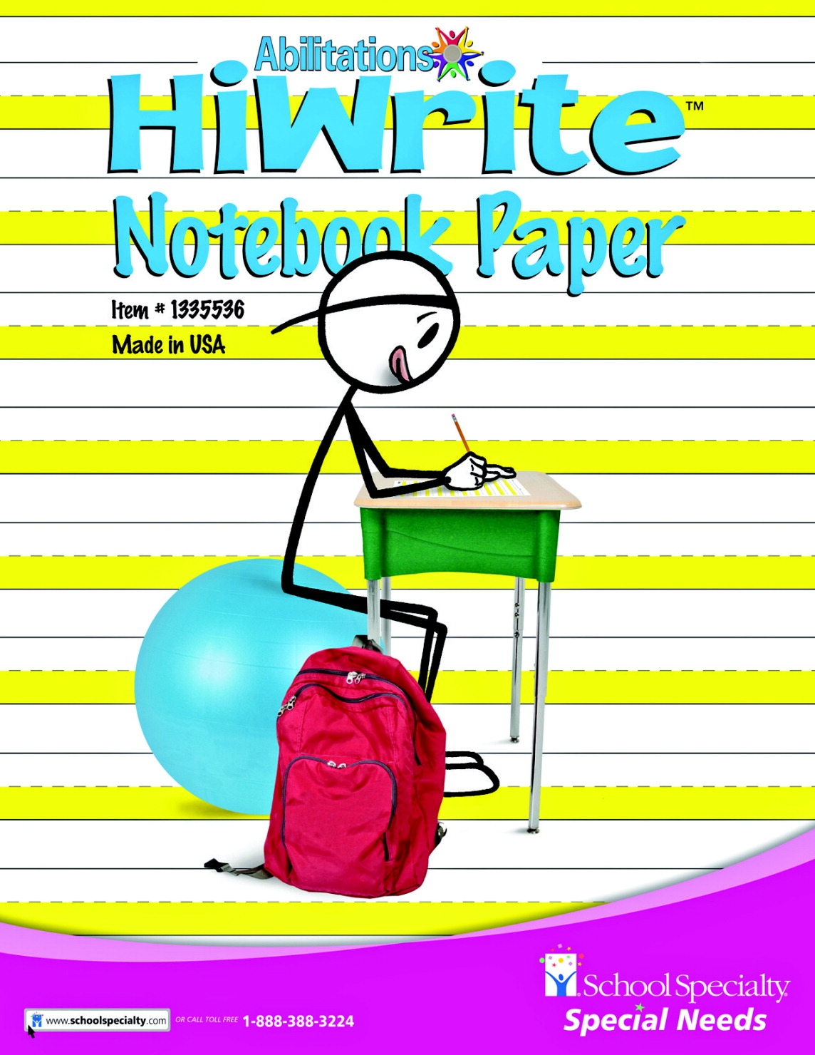 Special Needs Fine Motor Handwriting - 1335536 - Abilitations Hi-write Intermediate Wide Ruled Notebook Paper; 8-10-1/2 Inches; 100 Pages/50 Sheets 1335536