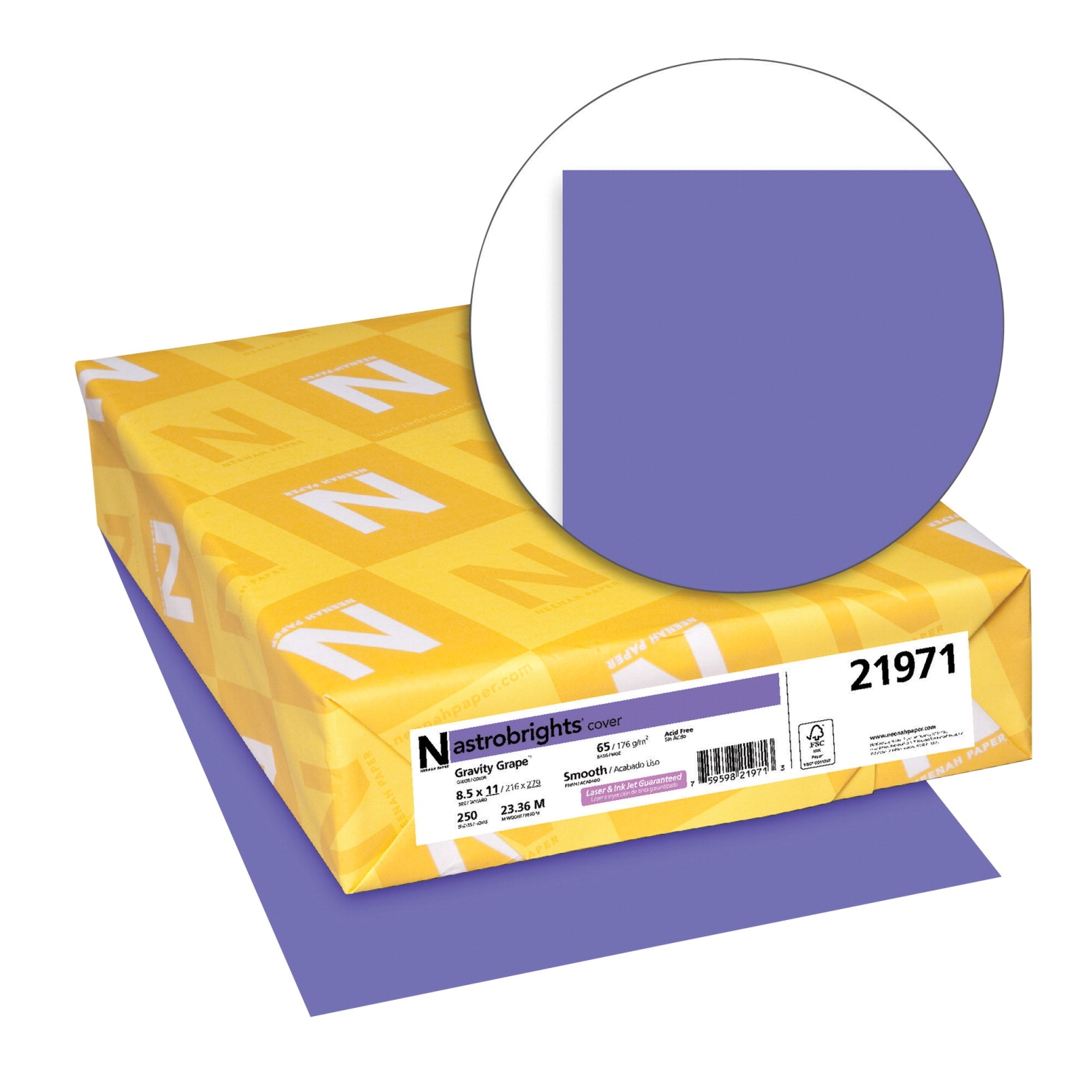 Facilities Management Dog Products Feeding Supplies - 1453185 - Astrobrights Paper Card Stock; 8-1/2 X 11 In; 65 Lb; Gravity Grape; Pack Of 250 1453185