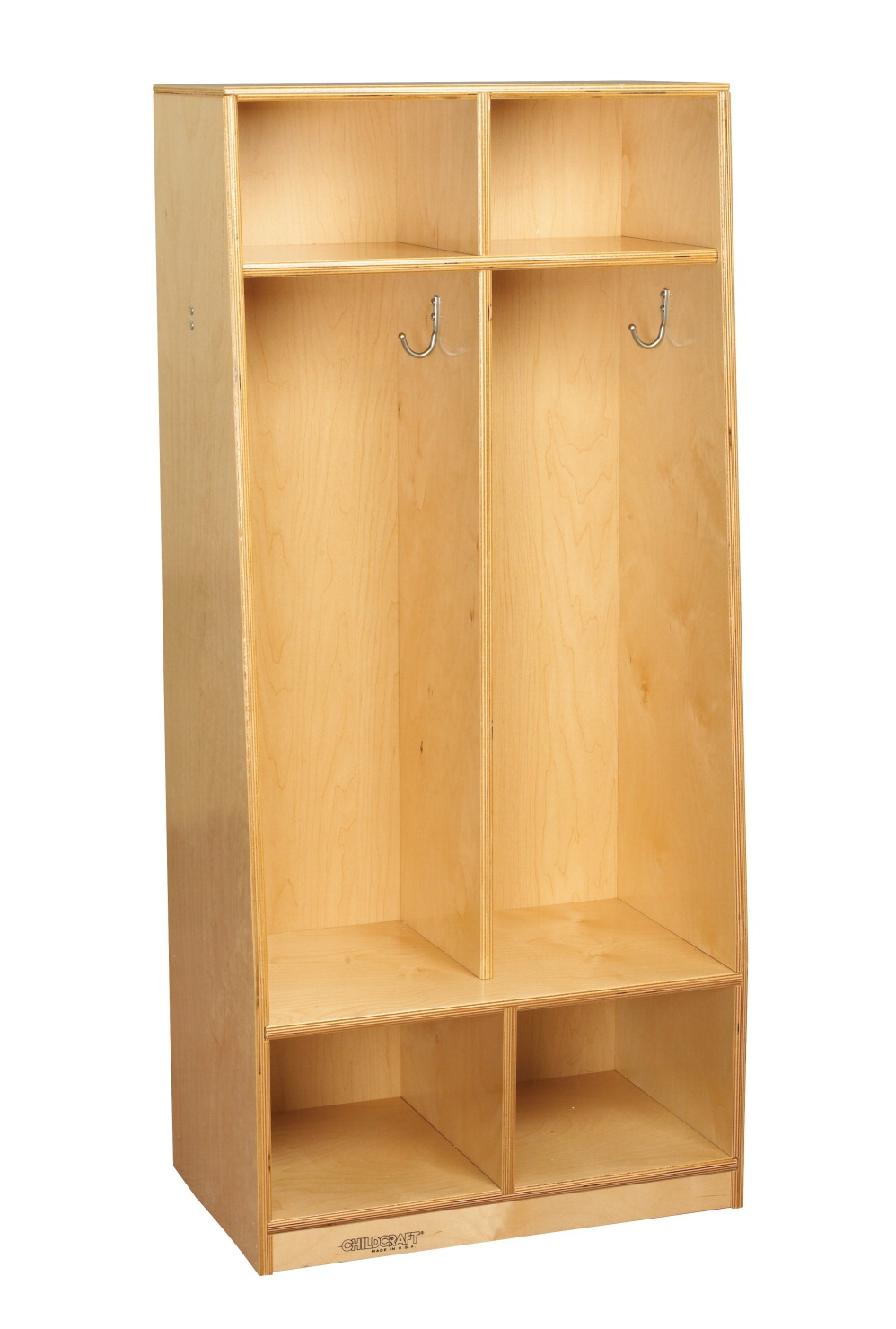 Facilities Management Lockers Standard Wide Lockers - 1301428 - Childcraft 2-section Assembled Bench Coat Locker; 21-7/8 X 13-3/4 X 48 Inches 1301428