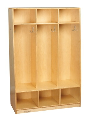 Facilities Management Lockers Standard Wide Lockers - 1403214 - Childcraft 3-section Assembled Bench Coat Locker; 32-1/2 X 13-3/4 X 48 Inches 1403214