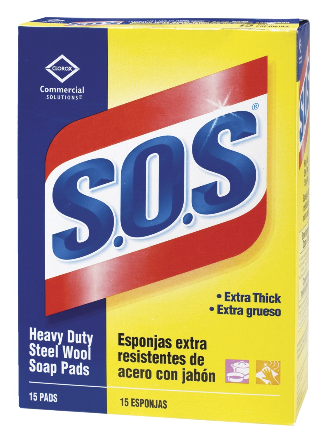 Clorox S.o.s. Steel Wool Soap Pads; Heavy-duty; 5 X 4 In; Pack Of 12 - 1541698 - Facilities Management Facility Supplies First Aid Health Supplies Hand Soaps Sanitizers 1541698