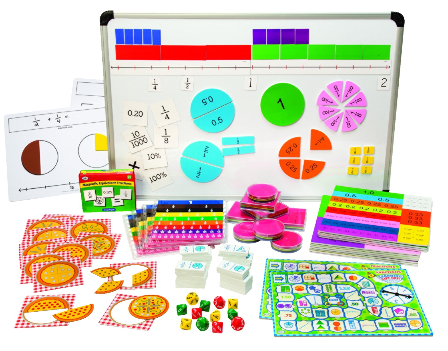 Didax Elementary Fraction Kit - 1440536 - Instructional Materials Resources Science Activities Equipment Physical Science Projects Books 1440536