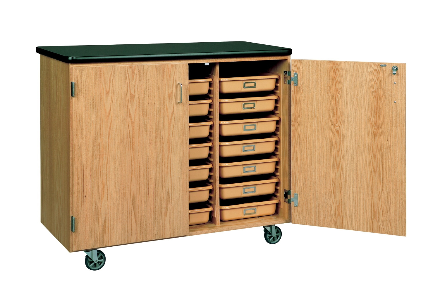 Diversified Woodcrafts Mobile Tote Tray Storage Cabinet; 41-1/2 In H X 48 In W X 24 In D; Oak; Earth-friendly Uv - 1129098 - Facilities Management Cabinetry Carts And Lockers Ot Mobile Therapy 1129098