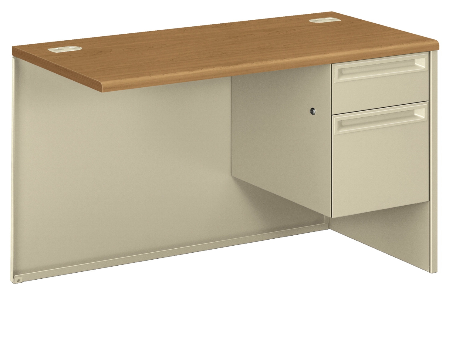 Hon 38000 Series Modular Desk; Right Pedestal Return W/lock; 48 X 24 X 29-1/2 In; Harvest/putty - 1504647 - Facilities Management Specialty Lockers Cellphone Lockers Custom Signage Locker Locks 1504647