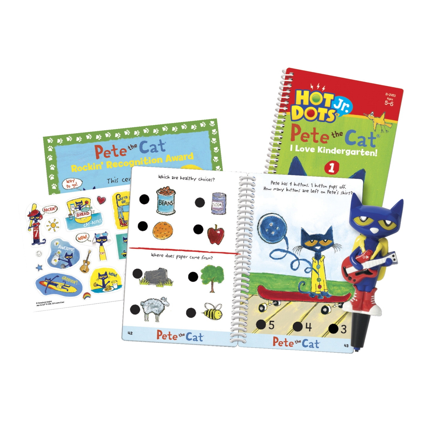 Toys Educational Toys Reading Toys - 1540425 - Hot Dots Jr. Pete The Cat I Love Kindergarten! Set; Ages 5 And Above 1540425