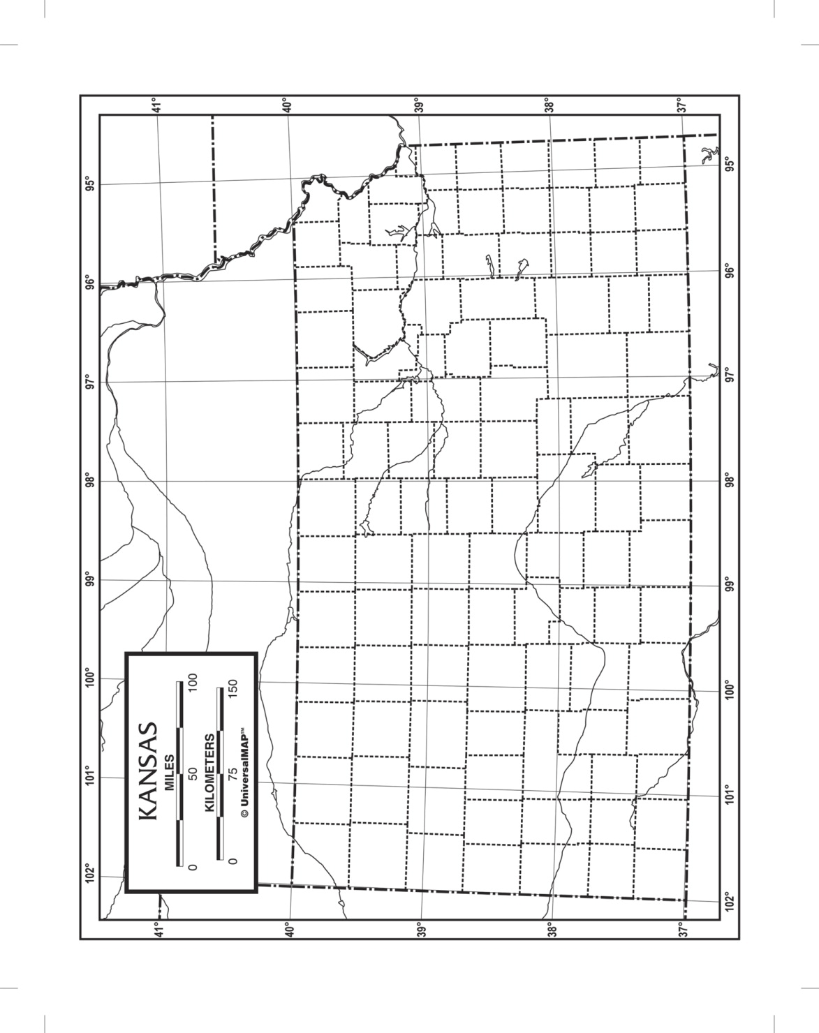 Kappa Map Kansas Outline Map; Laminated; 8-1/2 X 11 In; Pack Of 50 - 1573870 - Toys Literature For Social Studies 1573870