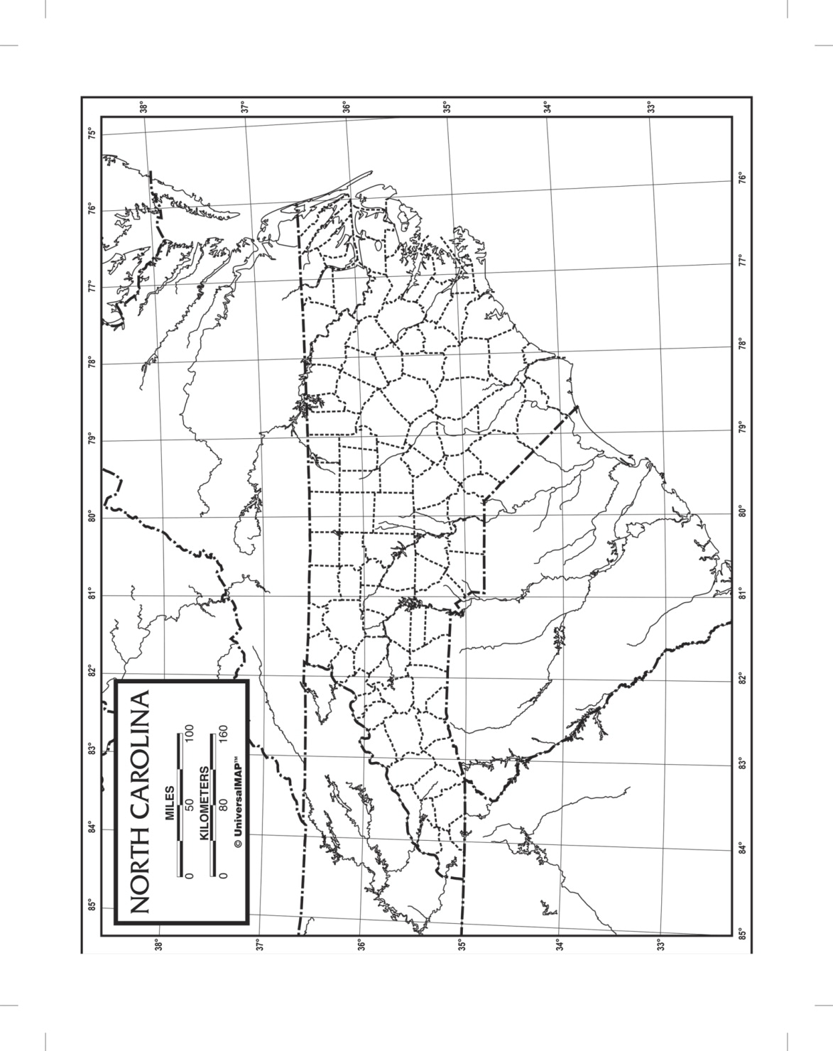 Kappa Map North Carolina Outline Map; Laminated; 8-1/2 X 11 In; Pack Of 50 - 1573906 - Toys Literature For Social Studies 1573906