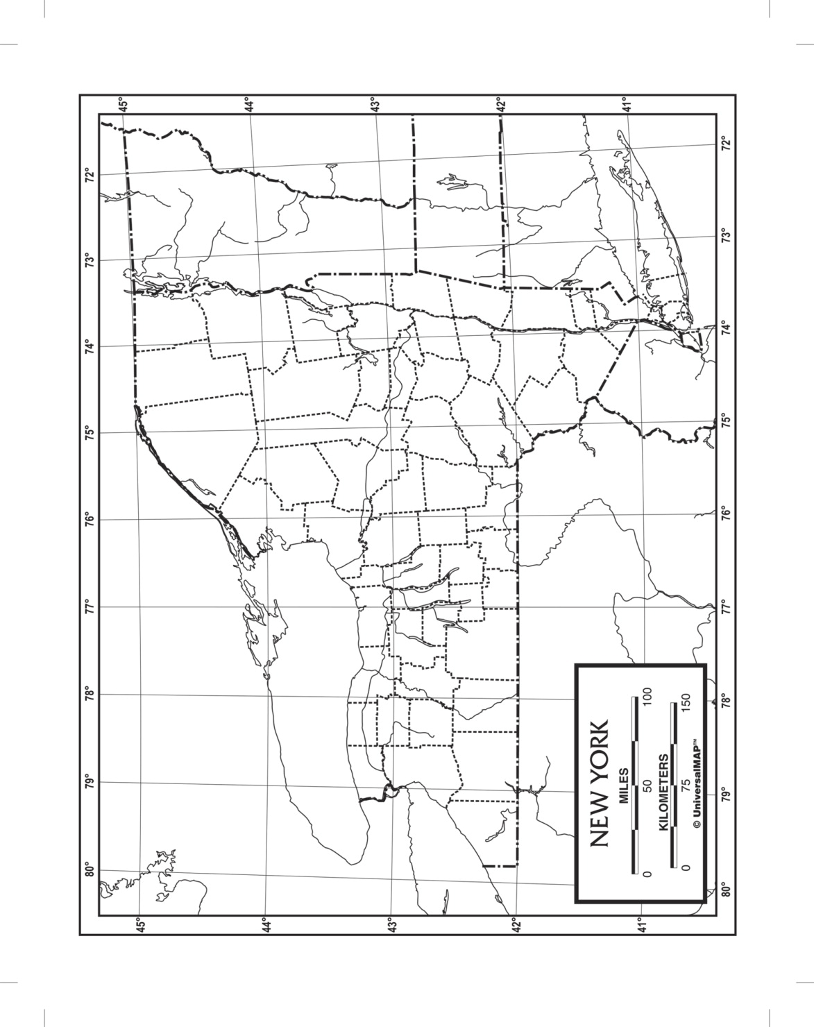 Kappa Map New York Outline Map; Laminated; 8-1/2 X 11 In; Pack Of 50 - 1573904 - Toys Literature For Social Studies 1573904