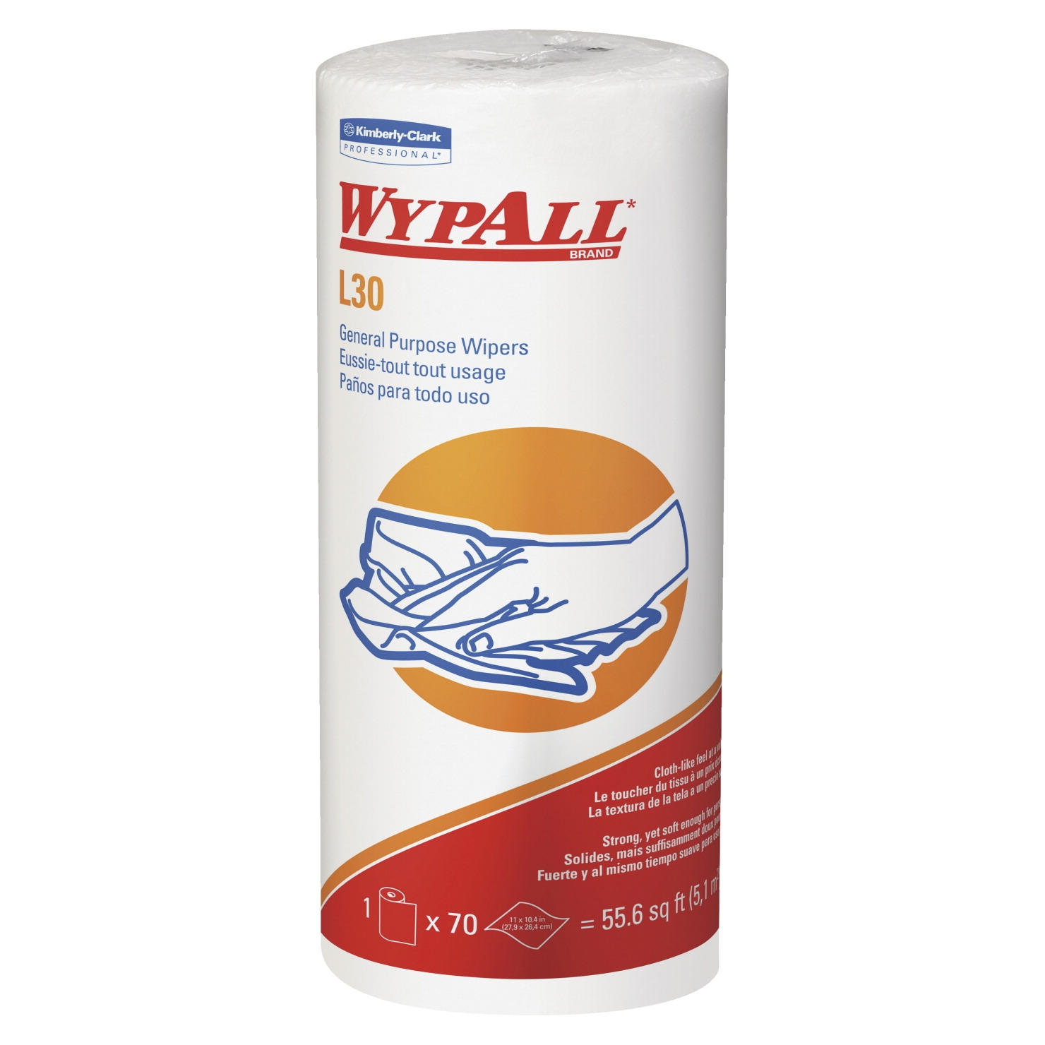 Kimberly-clark Wypall L30 General-purpose Wipers; 11 X 10.4 In; White; 70 Sheets - 1541559 - Facilities Management Cleaning Solvents Sponges And Wipes Towels 1541559
