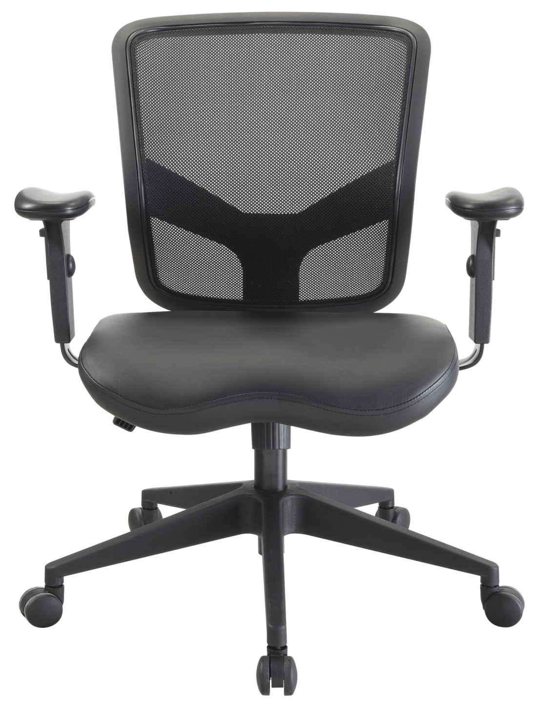 Lorell Executive Mid Back Mesh And Leather Chair; 27-1/2 X 28-1/2 X 38-1/2 Inches; Black - 1565546 - Yoga And Pilates Eyebags And Neckpillows 1565546