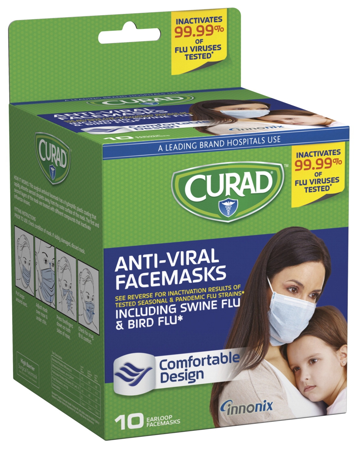 Medline Curad Anti-viral Medical Face Mask; Plastic; White/green; 0.9999; Virus Filter; Pack Of 10 - 1449267 - Facilities Management Facility Supplies First Aid Health Supplies Diagnostic Bandages And Masks 1449267