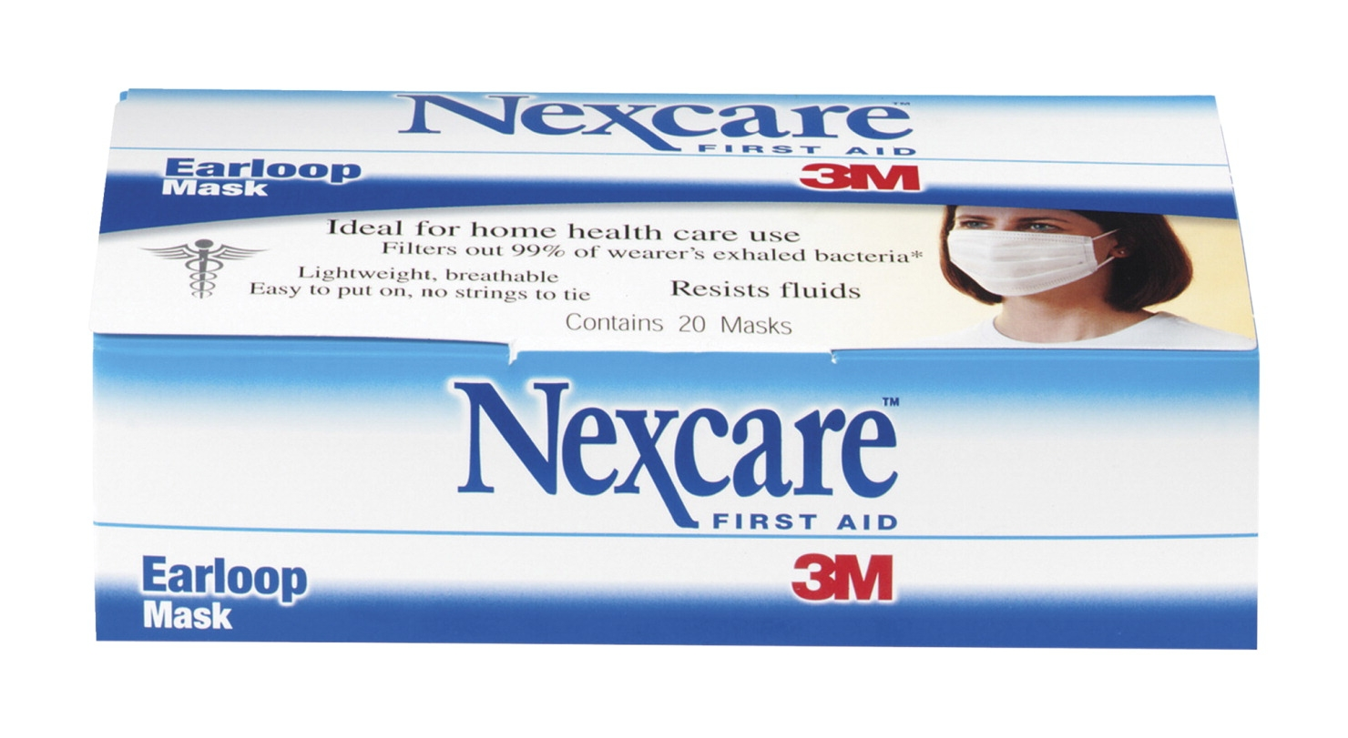 Nexcare 3m Ear Loop Fluid-resistant Filter Mask; White; Pack Of 20 - 1311964 - Facilities Management Facility Supplies First Aid Health Supplies Diagnostic Bandages And Masks 1311964