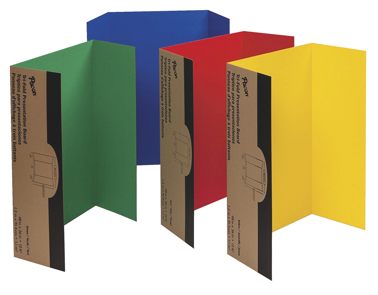 Pacon Single-walled Tri-fold Corrugated Presentation Board Set; 48 X 36 In; Assorted Color; Set Of 24 - 1312352 - Strategy Board Games Go Board Game 1312352