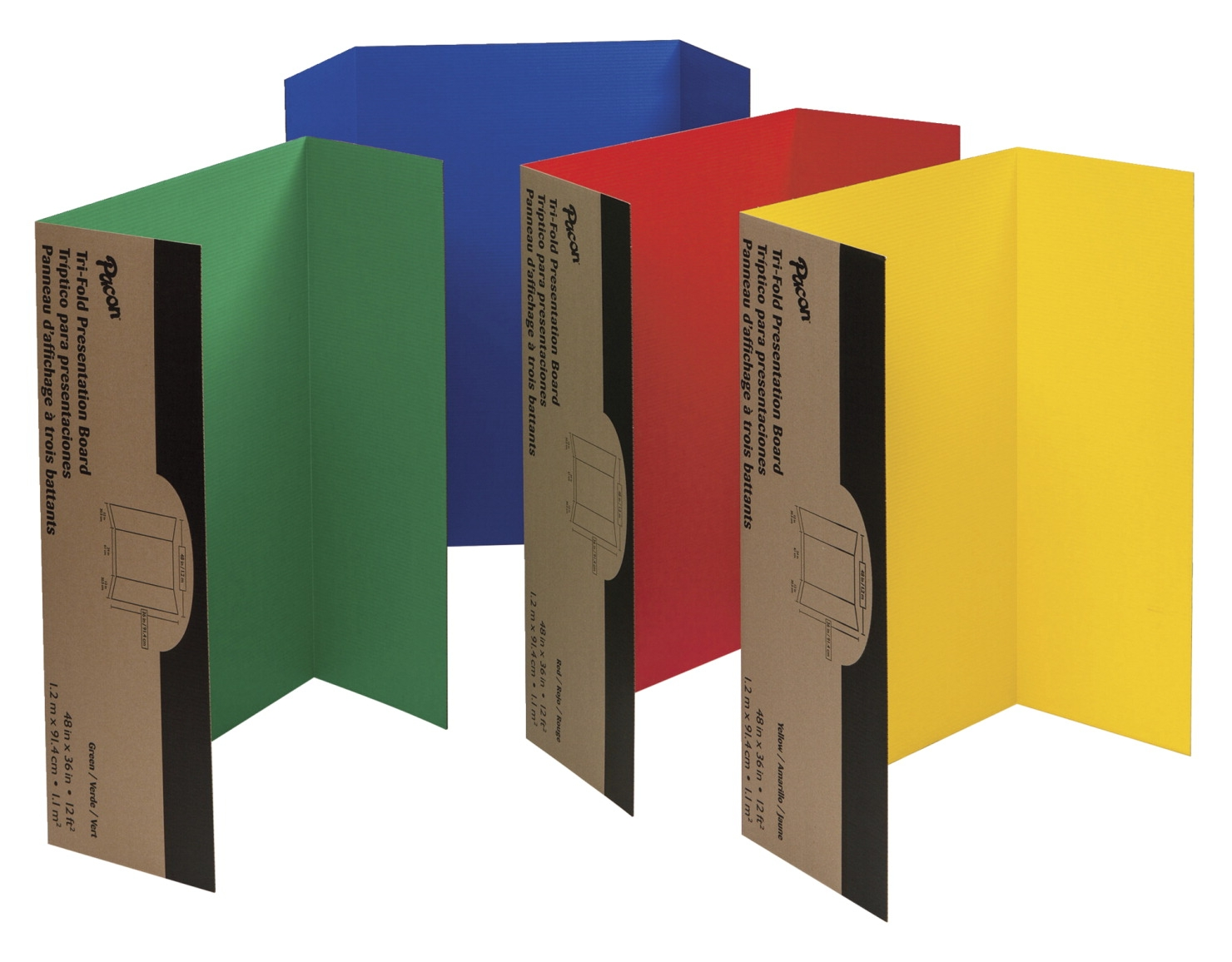 Pacon Single-walled Tri-fold Corrugated Presentation Board Set; 48 X 36 In; Assorted Color; Set Of 4 - 1106409 - Strategy Board Games Go Board Game 1106409