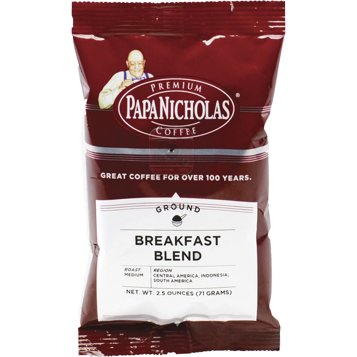 Papanicholas Breakfast Blend Pre-ground Premium Coffee Packet; 2.5 Oz; Brown; Pack Of 18 - 1446310 - Facilities Management Facility Supplies Foodservice 1446310