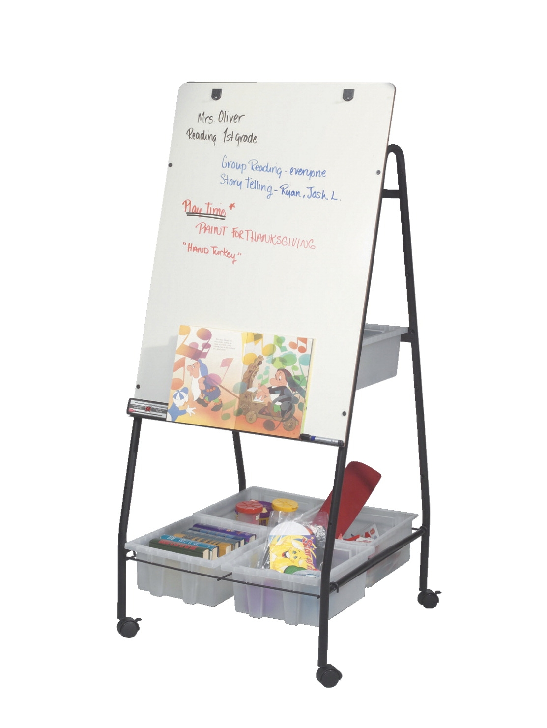 Best-rite Wheasel Dry Erase Wheeled Storage Easel; 28-1/2 X 29 X 58 Inches; Porcelain - 082965 - Toys Easels And Drying Racks 082965