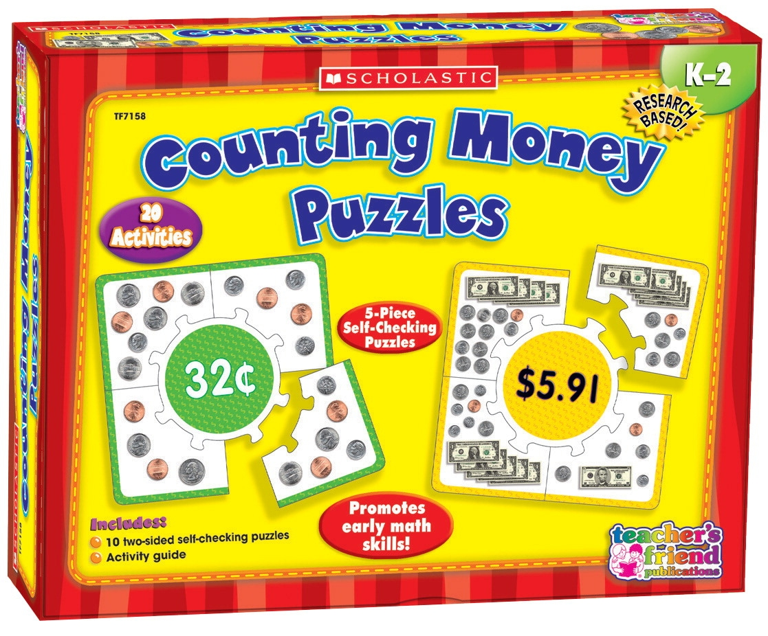 Toys Ride Ons - 091551 - Scholastic Counting Money Hands-on Learning Puzzle Set 091551