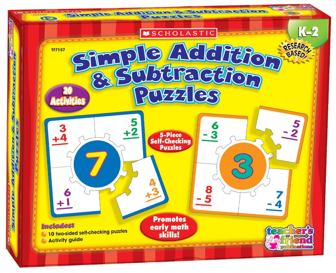 Toys Ride Ons - 091550 - Scholastic Simple Addition And Subtraction Hands-on Learning Puzzle Set 091550