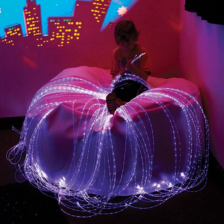 School Specialty Led Fiber Optic Softie Calming And Lighted Beanbag With 100 6 Foot Strands - 1397575 - Special Needs Sensory Processing Multi Sensory 1397575