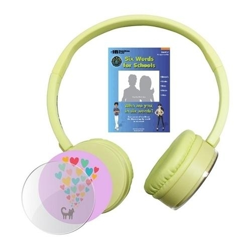 "Six Words Kidzphonz Originalz"" Yellow Headphone + Free Workbook - Swkpcy - Special Populations Bluetooth Boombox Headphone SWKPCY"