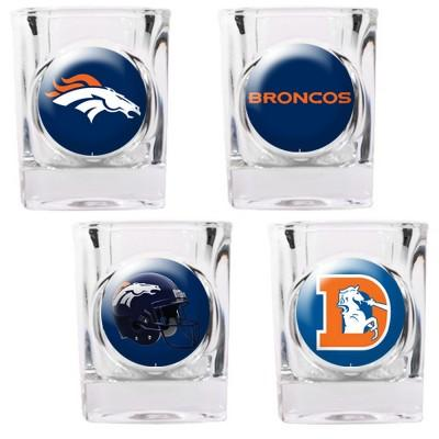 Denver Broncos 4 Pc Shot Glass Set - 41132 - Football Nfl Football Denver Broncos Shot Glasses 41132