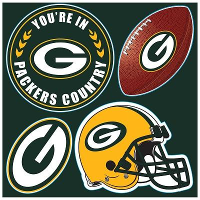 Football Nfl Football Green Bay Packers Tumblers And Pint Glasses - 98616 - Green Bay Packers 4 Pc Vinyl Magnet Se 98616