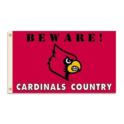 Louisville Beware Cardinal Country 3x5 Flag - 35732 - Football Nfl Football Arizona Cardinals Tumblers And Pint Glasses 35732