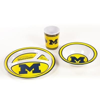 "Collegiate Sports Ncaa College Michigan Mich Wolverines Kids Dish Sets - 31103 - Michigan Kid""s Dish Set 31103"