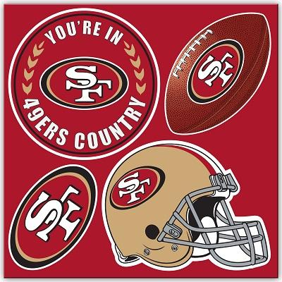 Football Nfl Football San Francisco 49ers Tumblers And Pint Glasses - 98605 - San Francisco 49ers 4 Pc Vinyl Magnet Set 98605