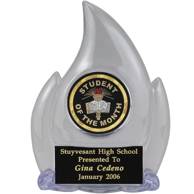 06 Inch Flame Trophy; Clear Holds Insert - Tr5222 - Academic Awards Traditional Column Trophies TR5222
