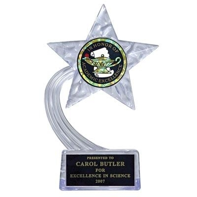 07-1/2 Inch Clear Acrylic Star Trophy; Holds Insert - Tr5847 - Academic Awards Traditional Column Trophies TR5847