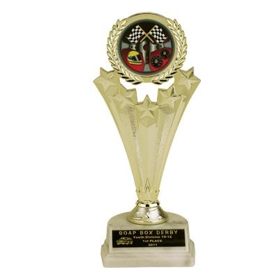 08-3/4 Inch Star Trophy; Holds Mylar Insert - Tr7082 - Awards Traditional Column TR7082