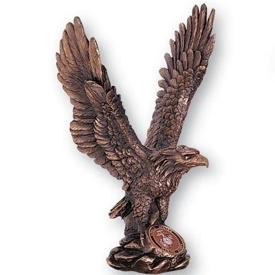 11-1/2 Antique Bronze Eagle; Holds Medallion Insert - X8068 - Awards Trophy Eagles Without Plates X8068