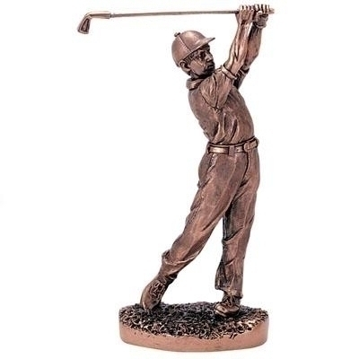 11-1/2 Inch Male Golf; Antique Bronze - F95b - Trophies And Awards Component Parts F95B