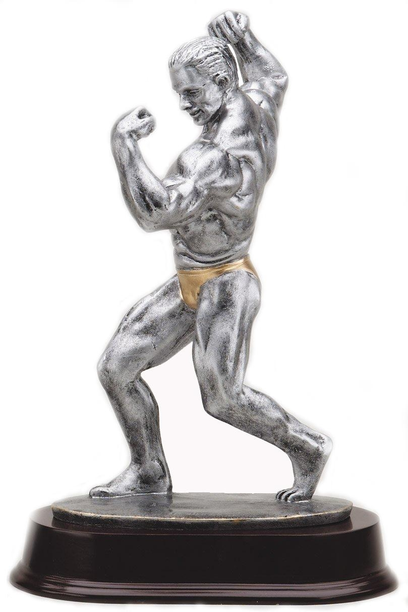 11 Inch Male Body Builder Antique Silver Finish Trophy - Tr9517 - Awards Cast Stone Star And Special Recognition Trophies TR9517