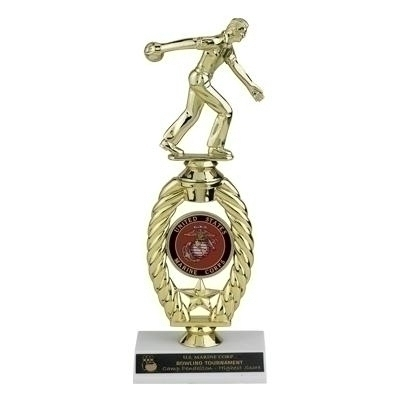 11 Inch Sports Trophy With Riser Holds 2 Insert - Tr7069 - Traditional Column Trophies Participation And Economy TR7069