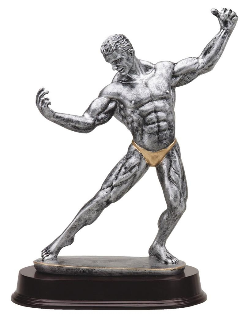 12 Inch Female Body Builder Antique Silver Finish Trophy - Tr9518 - Awards Cast Stone Star And Special Recognition Trophies TR9518