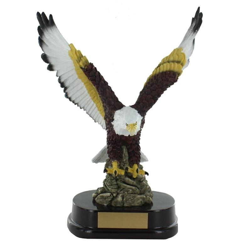 13 Inch Hand Painted American Eagle Trophy On Rosewood Base - Tr7477 - Trophies And Awards Resin And Cast Stone TR7477