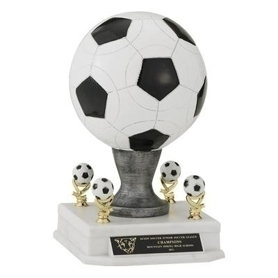 14 1/2 Inch Resin Soccerball With Trims - Tr7184 - Awards Large Sport Ball Trophies TR7184