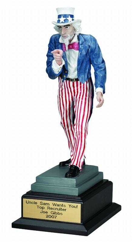 14-1/2 Inch Uncle Sam Trophy; Painted Resin - Tr5731 - Trophies And Awards New Electroplated TR5731