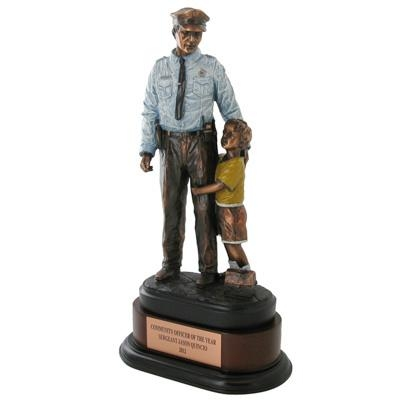 14 Inch Police Officer With Child Trophy; Electroplated In Bronze Painted Colors - Tr7244 - Trophies Firefighter; Emt; Awards TR7244